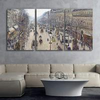 Camille Pissarro 3 Panel World Famous Painting Reproduction on Canvas Wall Art Boulevard Montmartre, Morning Drop shipping