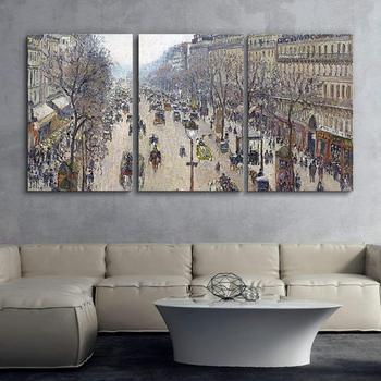 Camille Pissarro 3 Panel World Famous Painting Reproduction on Canvas Wall Art - Boulevard Montmartre, Morning Drop shipping