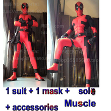 Movie Coser-5 High Quality Custom Made Super Hero Deadpool Suit With Accesorries Adult Men Halloween Cosplay Costume Muscle Suit