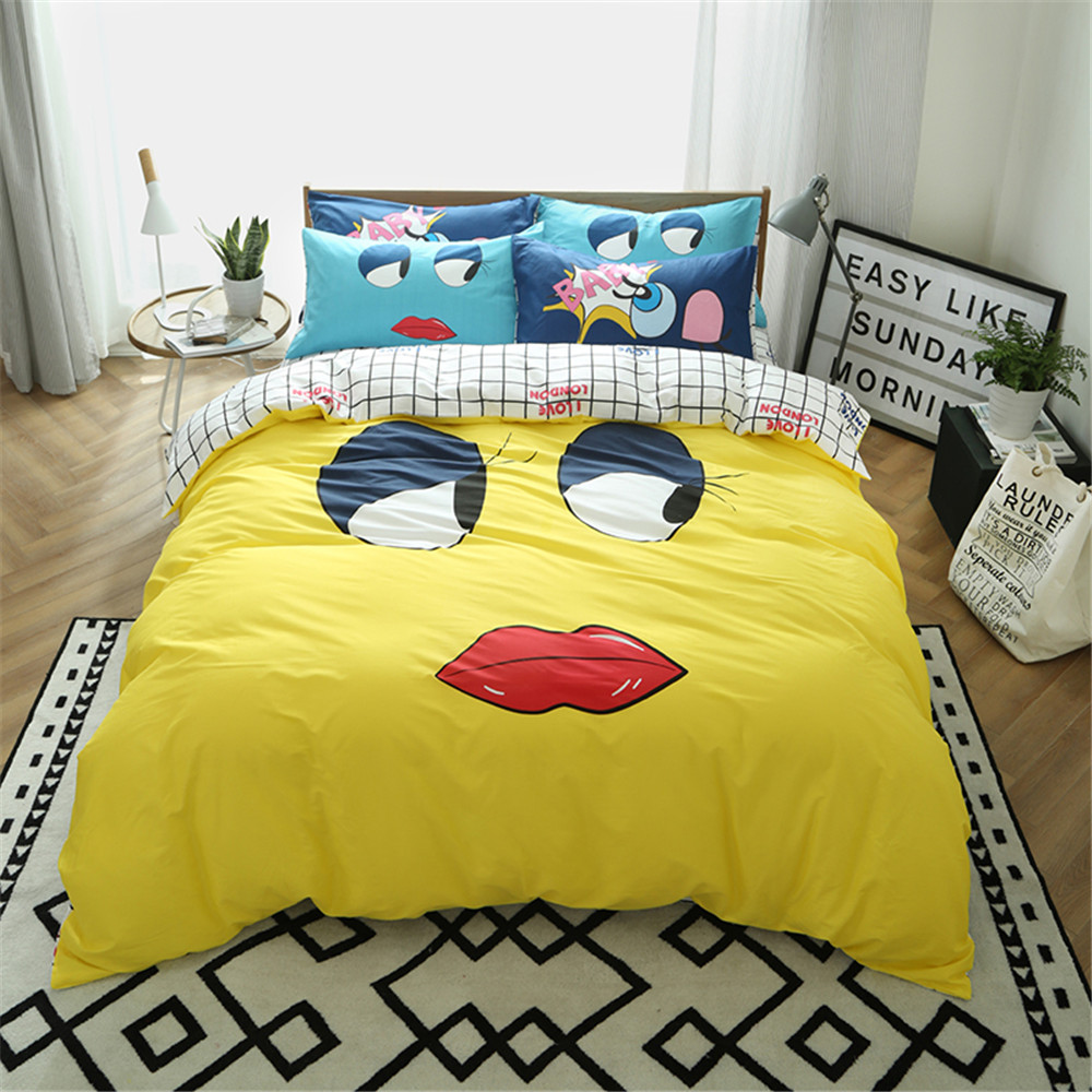 Cartoon funny design yellow white kids children bedding sets 3 4pc include 1pcs dvuet cover 1pcs bed sheet 1 2pcs pillowcase in bedding sets from home