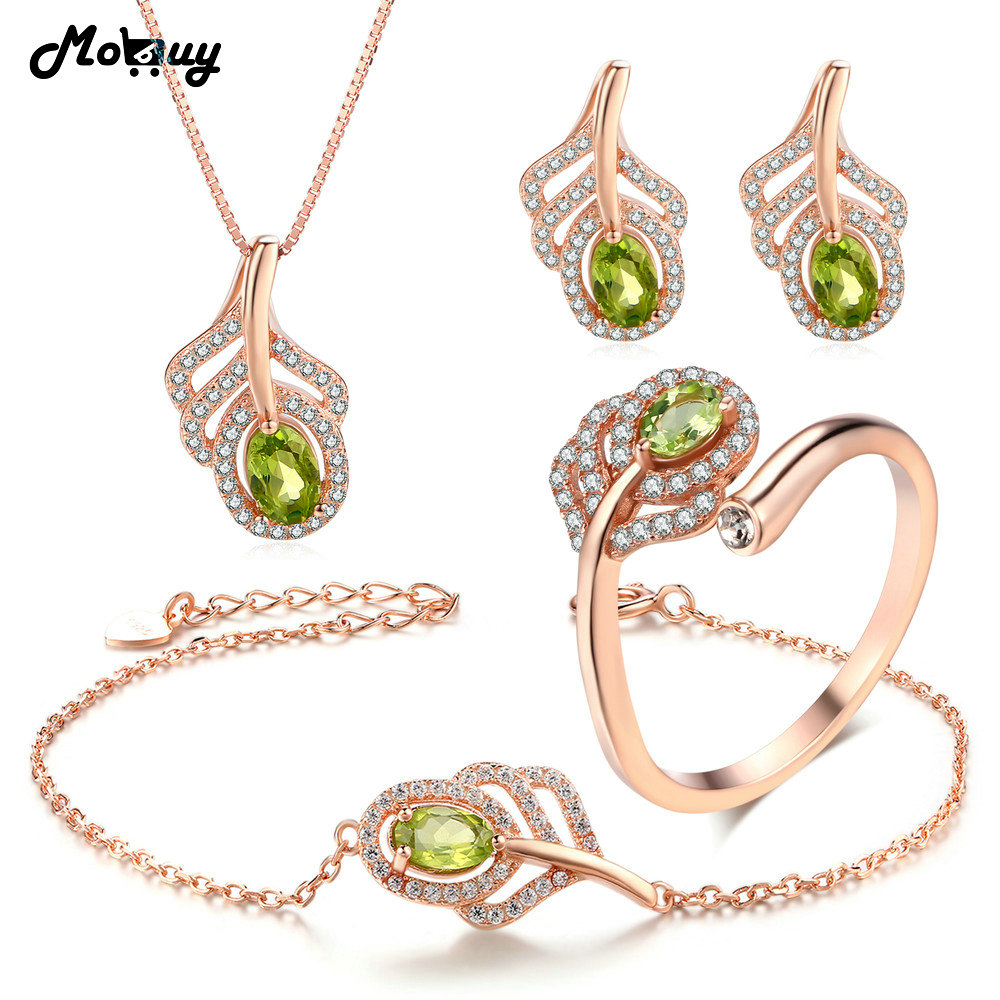 MoBuy 5pcs Peridot Natural Gemstone 4pcs Jewelry Sets 100 925 Sterling Silver For Women Engagement Fine