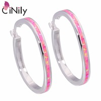 CiNily Created Pink Fire Opal Silver Plated Wholesale Hot Sell Fashion Jewelry for Women Gift Hoop Earrings 1 1/2