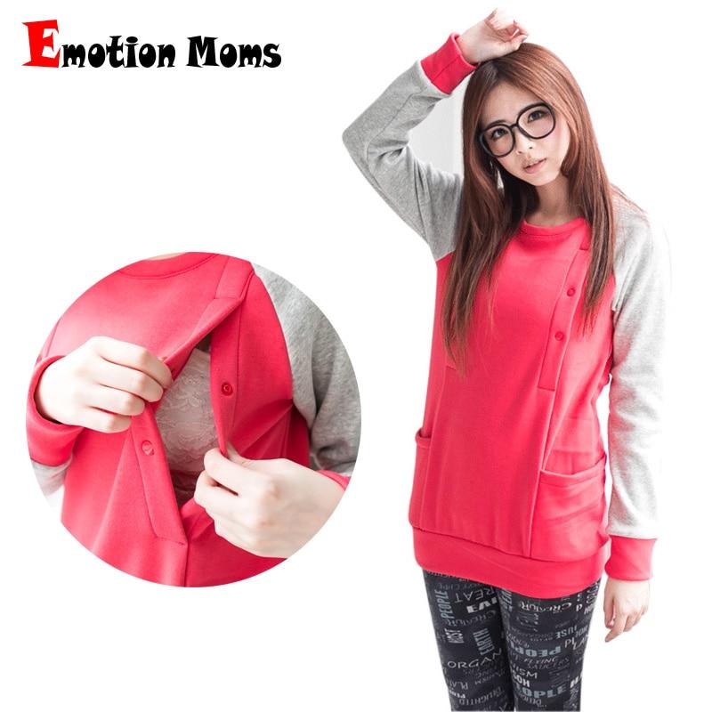 Emotion Moms зимняя одежда с длинными рукавами для беременных Топ для кормления грудью топы свитер для вскармливания толстовки для беременных женщин