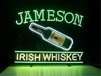 ป้ายไฟนีออนสำหรับJAMESONไอริชวิสกี้ป้ายจริงแก้วบาร์เบียร์ผับแสดงผลร้านคริสมาสต์แสง17*14