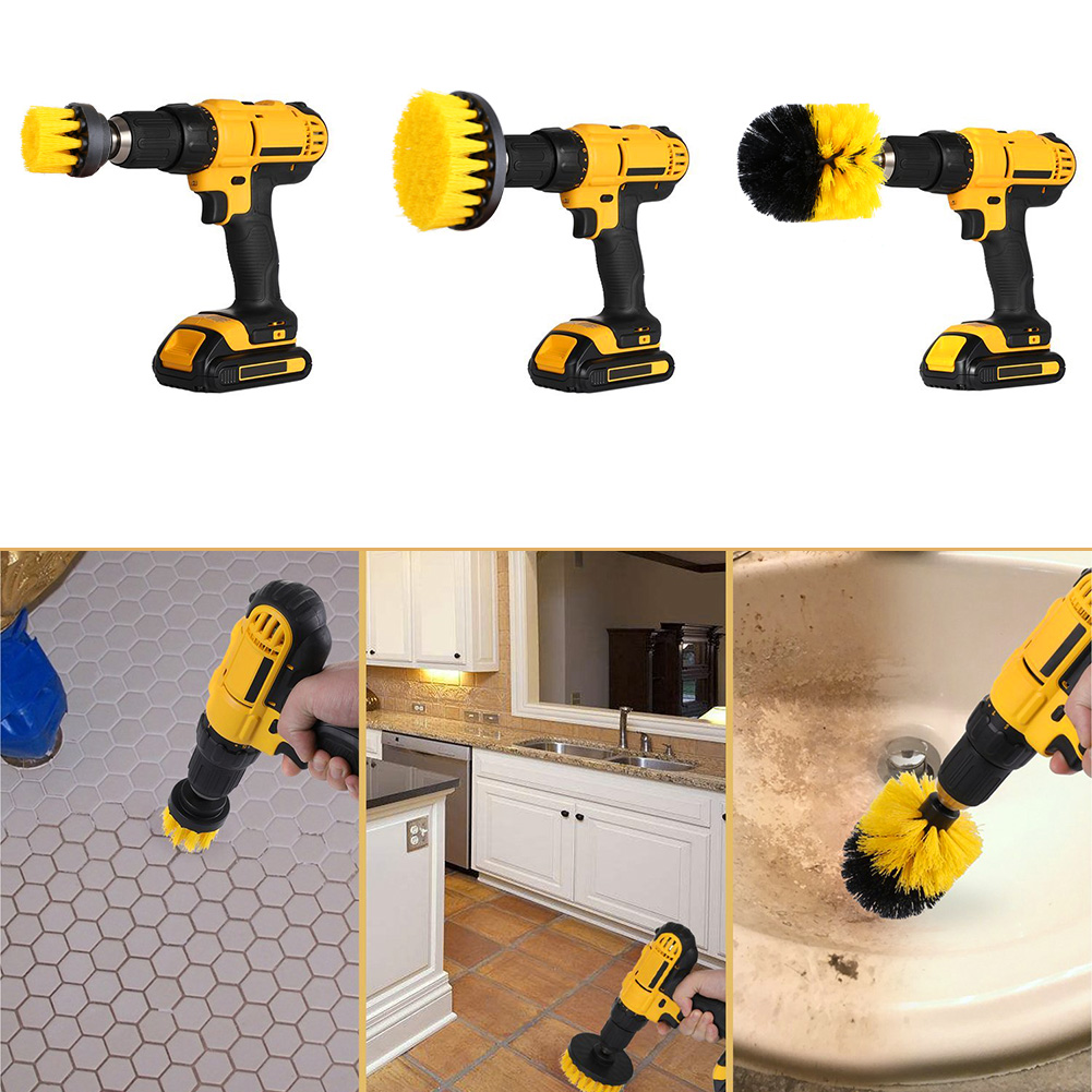 Yellow/Blue/Red Soft Drill Powered Brush Head For Cleaning Car Carpet Bath Fabric 5.3cm/8.3cm/10.5cm