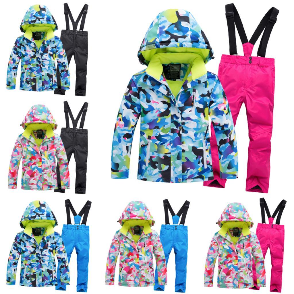 Outdoor Children Snow Suit Coats Ski Suit Sets Girl Boy Skiing Snowboarding Clothing Waterproof Thermal Winter Jacket + Pant