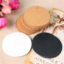 300pcs 5*5cm kraft paper label small round blank tag bookmarks gift card tag chocolate packaging bottle