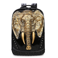 Men Women Travel PU Synthetic Faux Leather Laptop Backpack 3D Elephant High Quality Casual School Backpacks