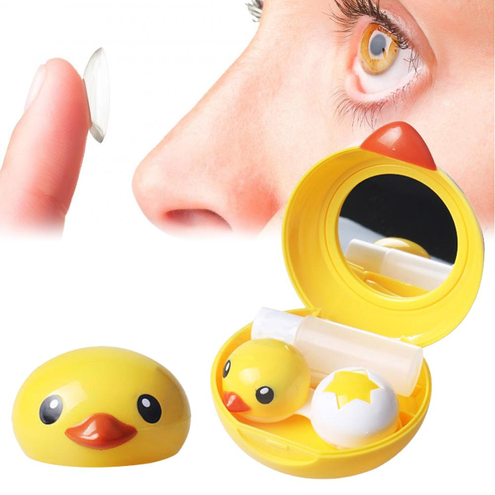Cute Lens Storage Case Set Portable Cartoon Yellow Duck Plastic Eyes Lens Organizer With Mirror Tweezer Contact Eyes Lens Box