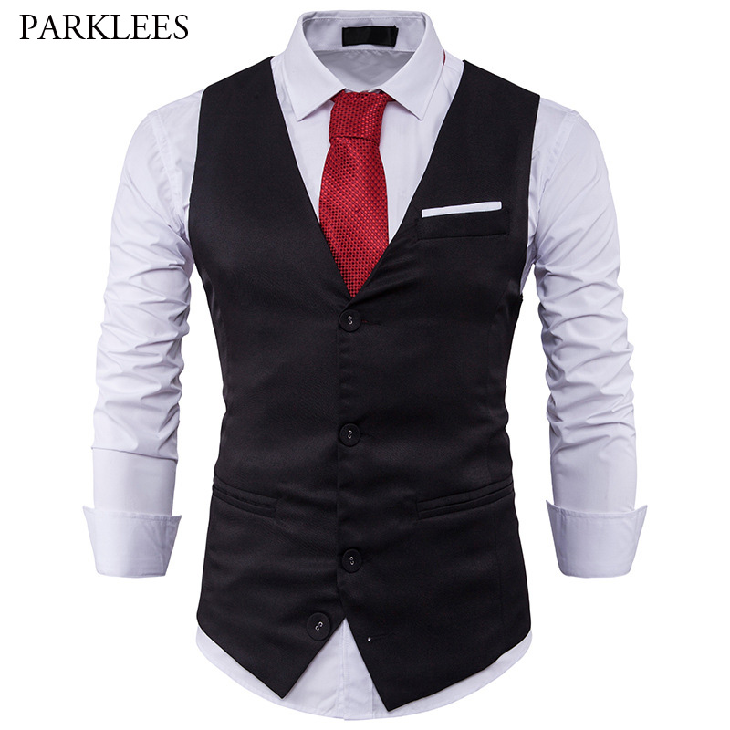 Mens Suit Vest 2017 Sleeveless Male Waistcoat Slim Fit Vest Waistcoat Business Wedding Classic Colete Masculino