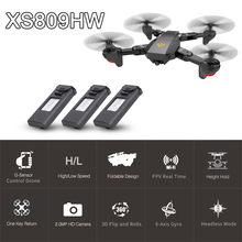 VISUO XS809HW Wifi FPV 2.0MP 120 FOV Wide Angle Foldable Selfie Drone Height Hold RC Quadcopter G-Sensor RTF Extra Two Battery