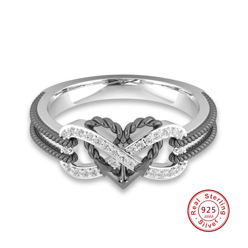 925 Sterling Silver Cubic Zirconia Cz Heart Band Ring Size 7.00 S//love Infinity