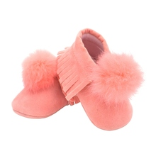 Фотография New Princess Style Cute Hair Ball Fringe Sweet Baby Girls Infant Toddler Soft Crib Casual Baby Shoes First Walkers