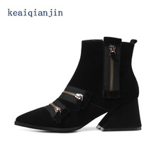 Sheepskin Chelsea Boots High Quality Autumn Winter Fashion With Crude Woman Ankle Boots Black Plus Size Zip Martens Boots