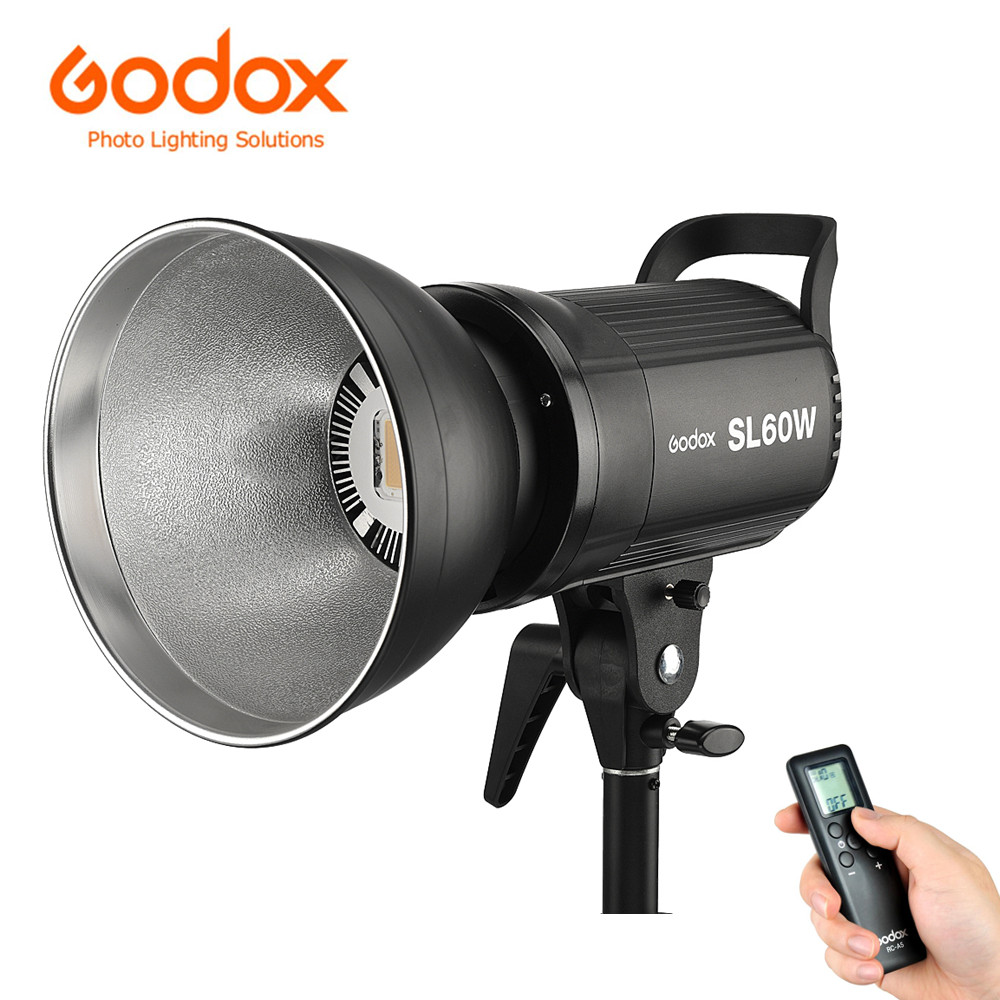 Godox Photo Studio Light SL60W CRI 95+ 5600K 60W LED Video Light Wireless Adjust Light Bright + Mount + Remote Control+Reflector цена