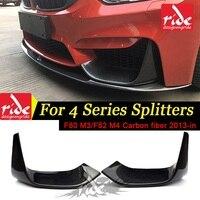 M3 M4 Car Styling Carbon Fiber M Performance Front Bumper Lip Splitter For BMW F80 M3 F82 F83 M4 2013 2018 420i 428i 435i 2PCS