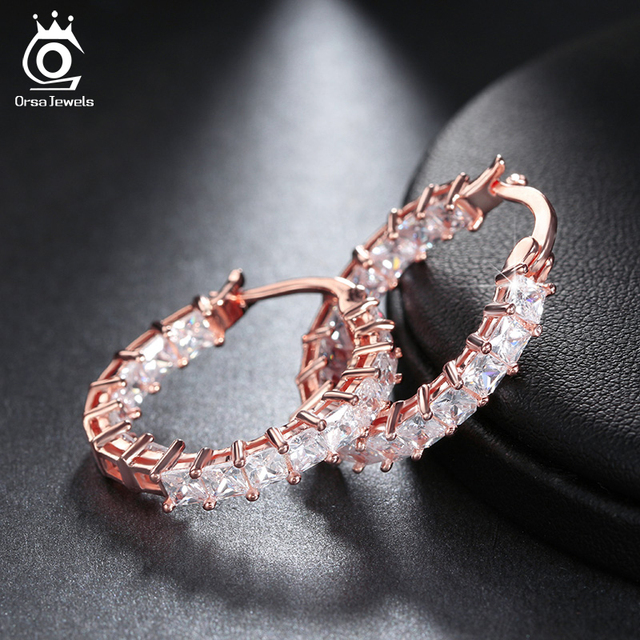 ORSA JEWELS Fashion Ladies Loop Earring Round Shape with 0 1ct Brilliant Austrian Cubic Zirconia Hoop.jpg 640x640 - ORSA JEWELS Fashion Ladies Loop Earring Round-Shape with 0.1ct Brilliant Austrian Cubic Zirconia Hoop Earrings for Women OE144