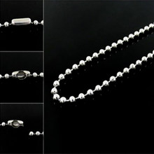 2mm Silver Tone Stainless Steel Ball Beads Chain For Necklaces Bracelet Women Bag Handbag Keychain Dog Tag Custom DIY Jewelry(China)