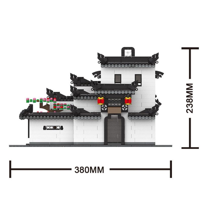 City Lepins Street view toys China Hui style Architecturet HOUSE Chinese Ancient Architecture Building Blocks Toy
