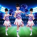 Kids Football Cheerleader Costume Niño Aeróbicos Gimnasia Leotardos Chica Uniformes de Porristas Rendimiento Trajes Trajes 89