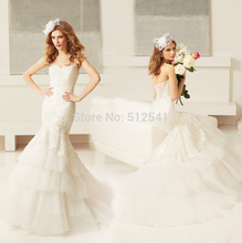 2015 Charming Mermaid Trumpet Sweetheart Wedding Dresses Lace Applique Beads Sequin Layers Bridal Gowns yk1A281