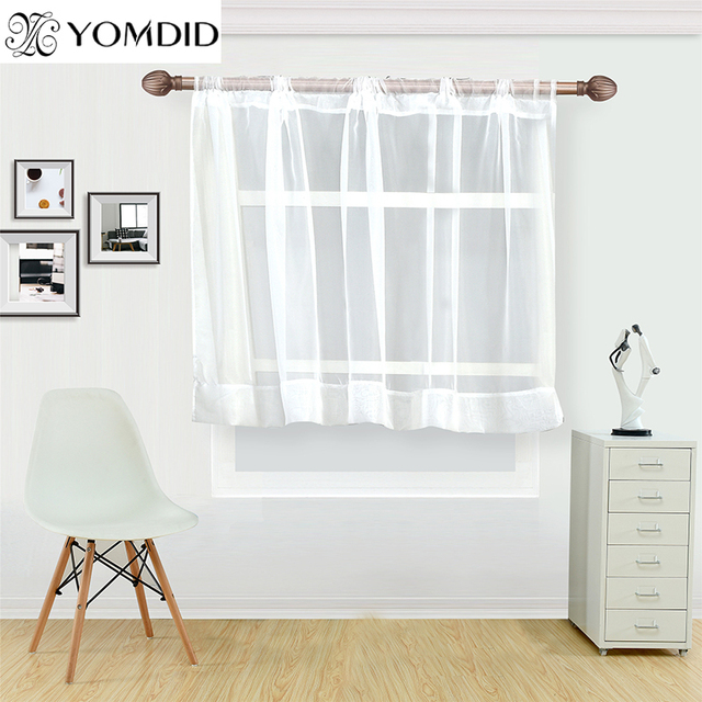 White coffee curtain for kitchen half window tulle curtains rustic ...