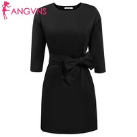 ANGVNS 2018 Casual Summer Dresses Women 3/4 Sleeve Solid Tie Belt Party Office Business Dress with Pockets vestidos Spring