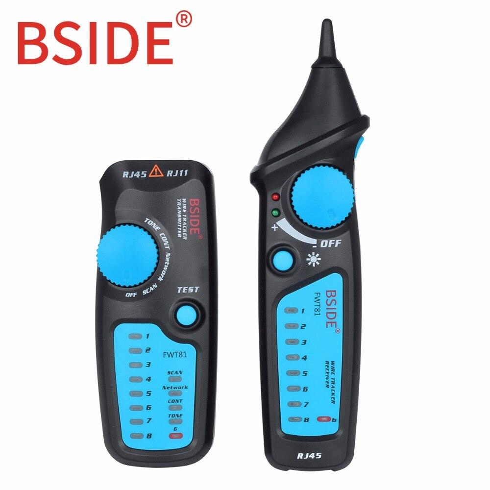 Bside FWT81 Cable Tracker RJ45 RJ11 alambre de teléfono red LAN TV línea eléctrica buscador Tester