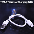 2 unids/lote 25 cm corto de tipo c cable de teléfono xiaomi mi5 de carga rápida para macbook mi4c lg g5 nexus 5x6 p meizu pro 5 huawei p9 plus