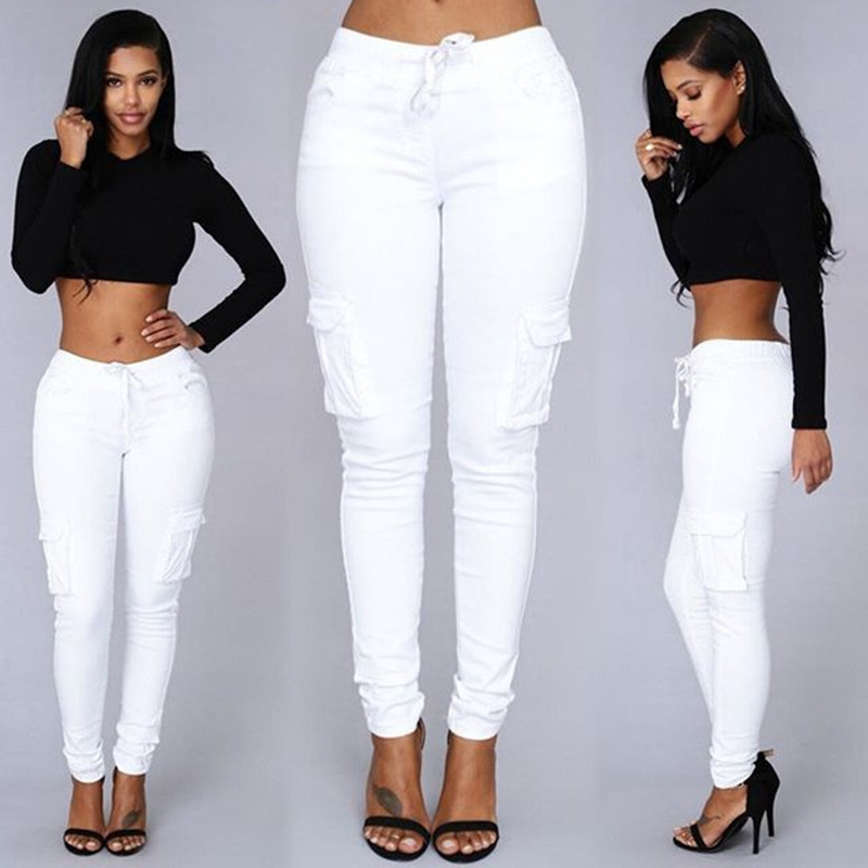 JRNNORV White Colors Elastic Sexy Skinny Pencil   Jeans   For Women Leggings   Jeans   Woman High Waist Women's Thin-Section Denim Pants