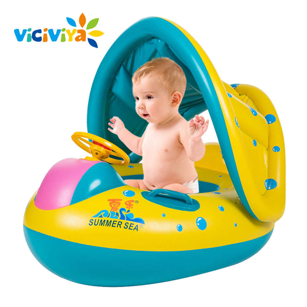 Summer Baby Kids Safety Swimming Ring Inflatable Swan Swim Float Fun Toys Swim Ring Seat Boat Infant Water Swim Pool Accessories
