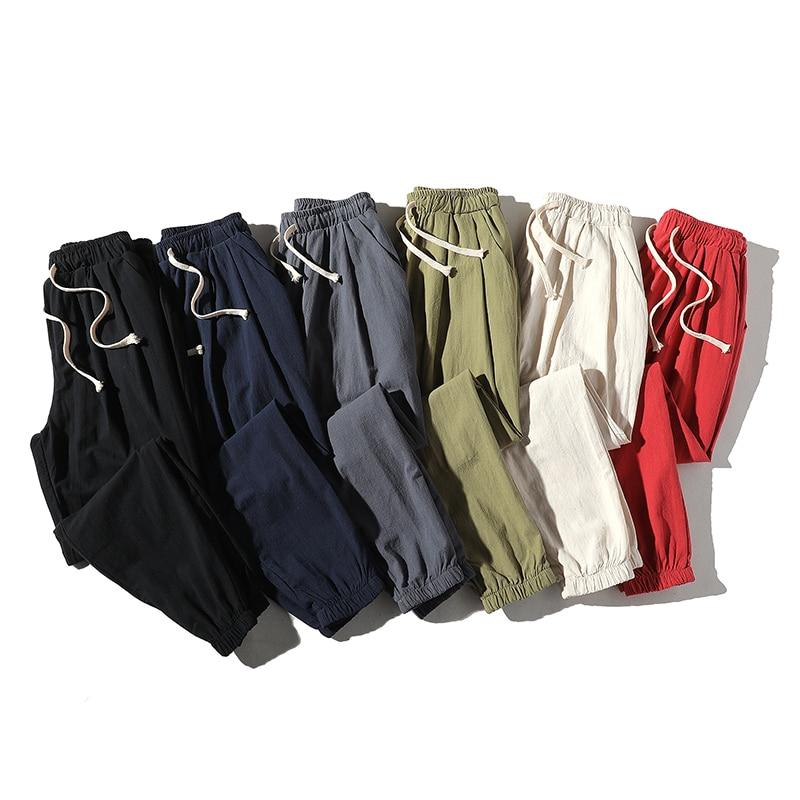 Ankle-Length Linen Plaid Pants Men Trousers Hip Hop Jogger Pants Men Sweatpants Streetwear Men Pants 2019 Spring New