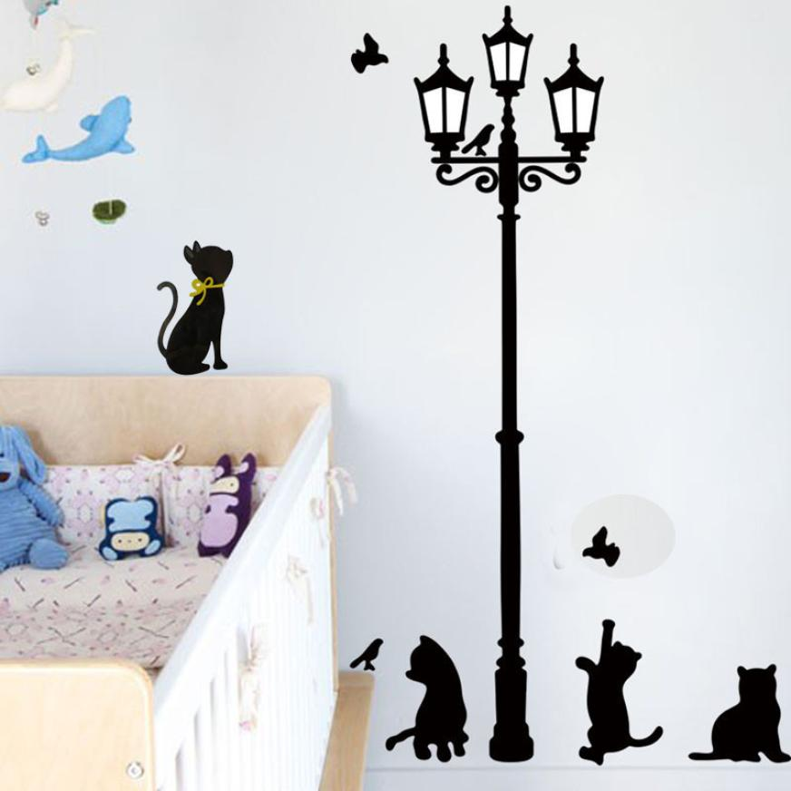 1 Set Cute Cats Street Lamp Lights Stickers Wall Decal Removable Art Vinyl Decor 33x60cm Living