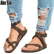 Ake Sia Summer Women' Feminina Belt Buckle Hollow Out Comfort Roman Flat-Bottomed Flip Flops Pedal