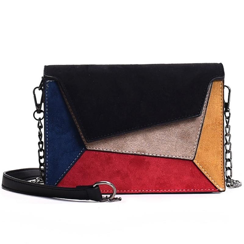 Panelled PU Suede Leather Flap Mini Crossbody Bags for Women Luxury Chain Matte Shoulder Ladies Fashion MessengerBags