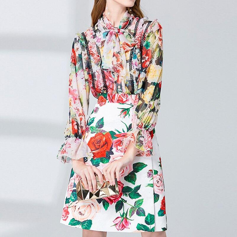 Najnowszy runway moda koszula komplet garniturów kobiety łuk kołnierz szyfonowa z długim rękawem popy i bluzki + słodki kwiat druku spódnica 2 sztuka zestaw w Zestawy damskie od Odzież damska na  Grupa 1