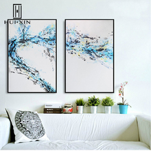 2 Pieces Modern Minimalism Design Blue Splashing Water Free Spirit Classic Color HD Oil Canvas Printing Wall Mural Decoration