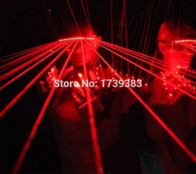 532nm 80 mw Laser Vermelho Óculos Piscando Óculos Discoteca DJ Laser Show LEVOU Óculos de Luz com 10 Pcs lasers para clube/Bares