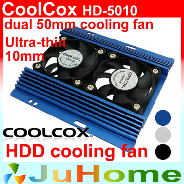 dual 50mm fan 10mm thin Cooling Fan HDD Cooler HDD hard drive cooling fan frame companion CoolCox HD-5010