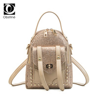 Obstine 2018 Fashion Mini Backpacks For Girls Cute Small Backpack Sequined Bag Women PU Leather Sequin