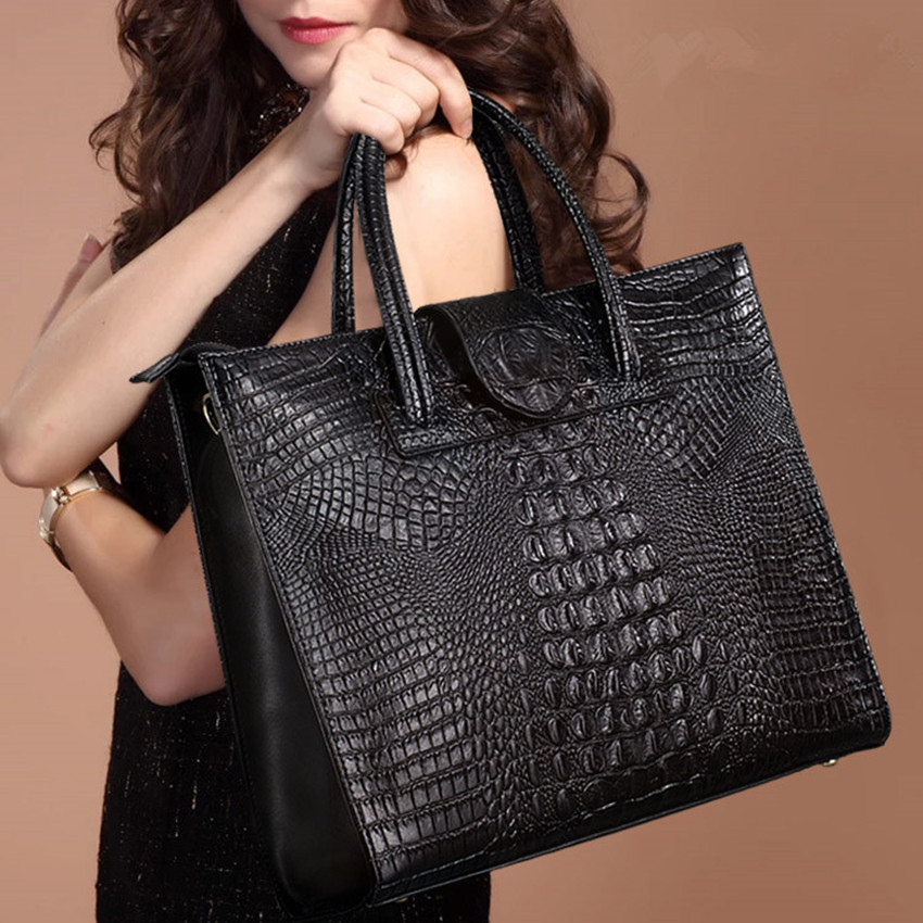 ZKW The New  Female Genuine Leather Casual Totel Handbags Crocodile Real Leather Handbag Fashion Shoulder Messenger Bag