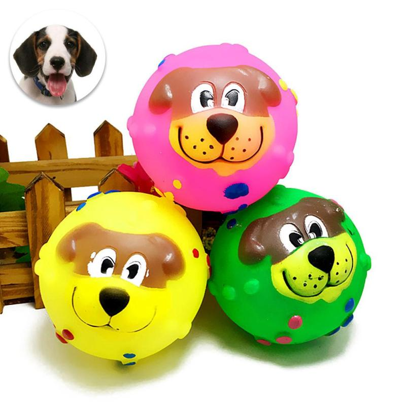1pc Colorful Pet Puppy Small Dogs Toys Pets Chews Sound Toy Toy Ball For Dog Pet Teeth Training Dog games Random Color #35