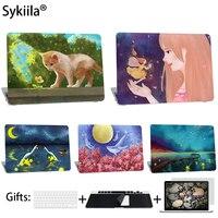 Sykiila Cas Pour Macbook Air 11 13 Pro 13 15 12 Retina Tactile Bar A1706 A1708 Art Image Couvercle De Protection Clavier Écran protecteur