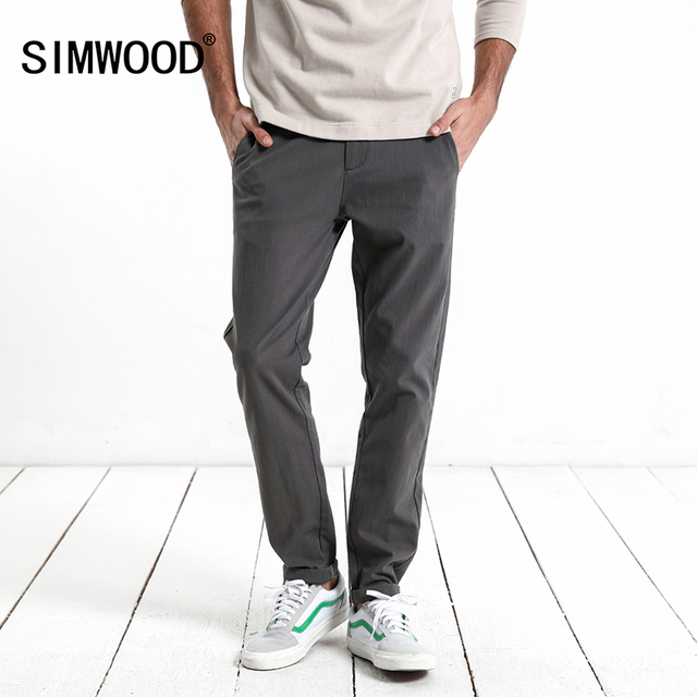 c140ce2c1adc5 SIMWOOD 2018 Spring New Casual Pants Men Slim Fit Fashion High Quality Male Trousers  Men Clothes Zipper Fly XC017020