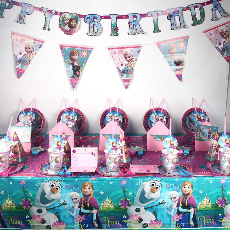 67 ชิ้น/ล็อตดิสนีย์แช่แข็ง Anna Elsa Princess วันเกิดเด็กสวยผ้าเช็ดปากสำหรับ Baby Shower Party Supplies