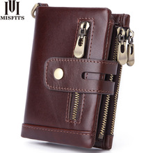MISFITS vintage short wallet genuine cow leather men coin pocket zipper small purse card holder brand portomonee for male