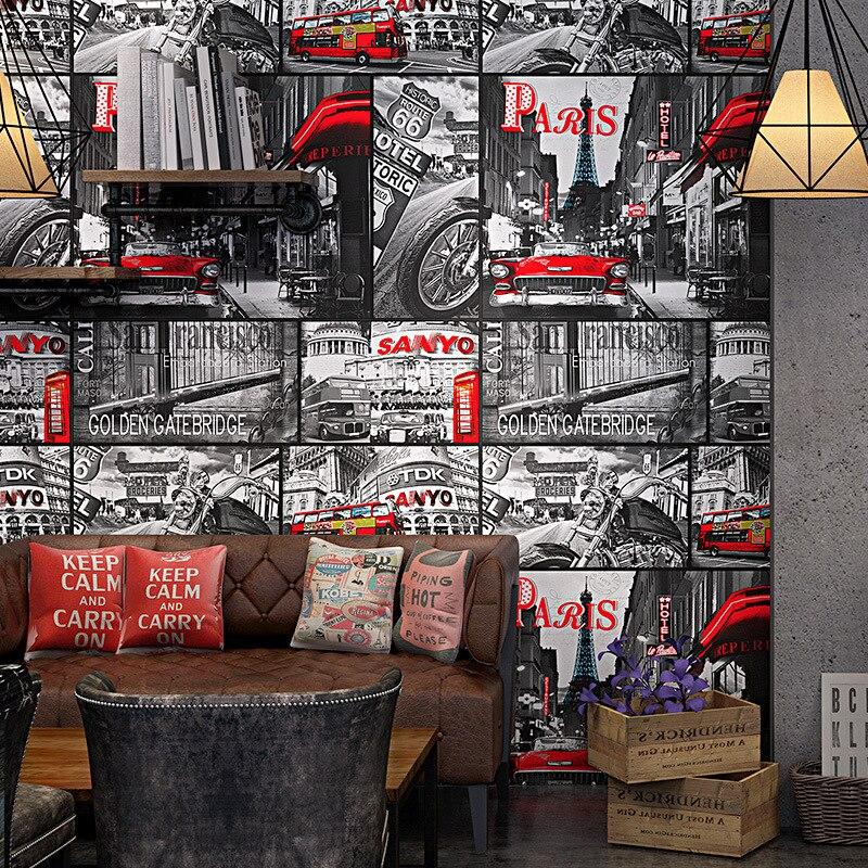 Timeless Retro Wallpaper Loft Industrial Style Newspaper Poster Wallpaper Personality Graffiti Internet Cafe Bar Background Wall