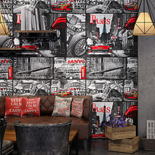 Timeless retro wallpaper loft industrial style newspaper poster personality graffiti Internet cafe bar background wall