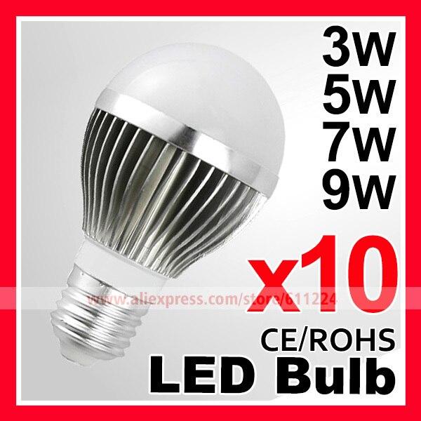 10pcs/lot  High brightness LED Bulb Lamp E27 2835SMD 3W 5W 7W 9W Bulb AC110-220V Cold white/Warm white Free Shipping