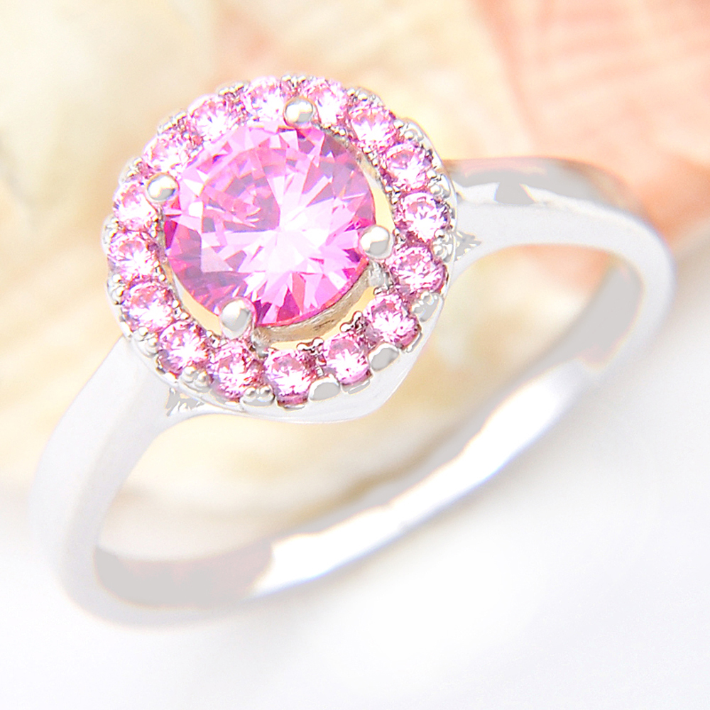 Promotion Jewelry Lucky Shine Full Fire Pink Kunzite Silver Plated ...